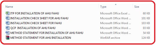 Method Statement AHU FAHU Installation