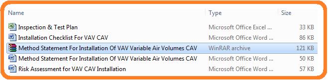Method Statement For Installation Of VAV Variable Air Volumes CAV