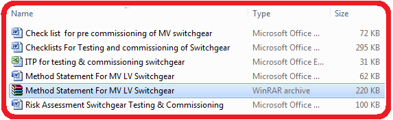 Method Statement For MV LV Switchgear