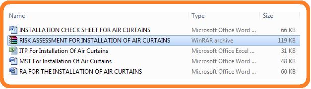 Method statement for Air Curtains Installation