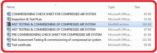 MST TESTING & COMMISIONING OF COMPRESSED AIR SYSTEM