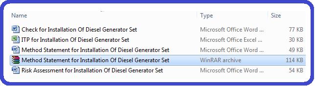 Method Statement for Installation Of Diesel Generator Set