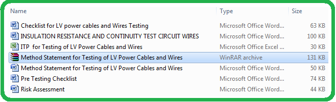 Method Statement for Testing of LV Power Cables and Wires