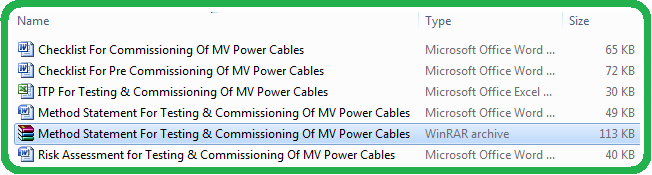 Method Statement For Testing & Commissioning Of MV Power Cables