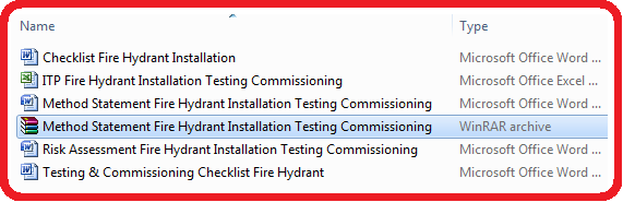 Download Method Statement for Installation, Testing and Commissioning of External Fire Hydrant