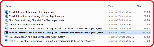 Method Statement for Instalaltion, Testing and Commissioning for the Clean Agent System