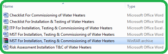 MST For Installation, Testing & Commissioning of Water Heaters