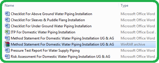 Download Method Statement For Installation & Testing of Water Supply Piping System