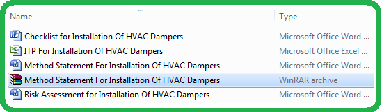 Method Statement For Installation Of HVAC Dampers