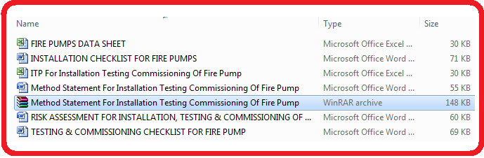 Download Method Statement for Installation, Testing and Commissioning of Fire Fighting Pump Set