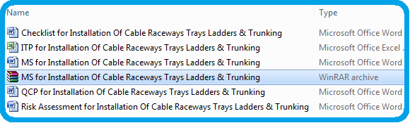 Method Statement for Installation Of Cable Raceways Trays Ladders & Trunking