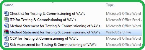 Method Statement for Testing & Commissioning of VAV's
