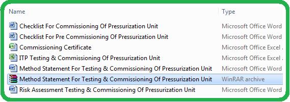Method Statement For Testing & Commissioning Of Pressurization Unit