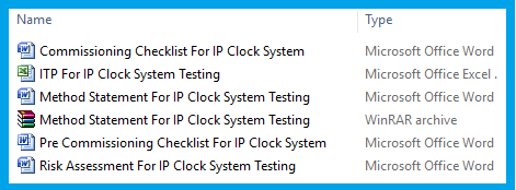 Download Method Statement for Testing & Commissioning Of IP Clock System