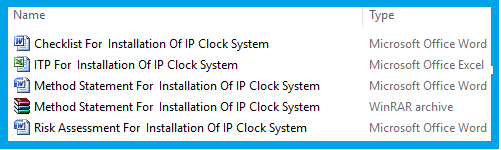 Method Statement For Installation Of IP Clock System