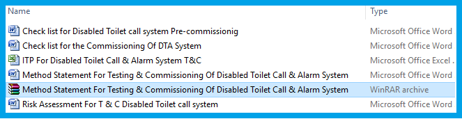 Method Statement For Testing & Commissioning Of Disabled Toilet Call & Alarm System