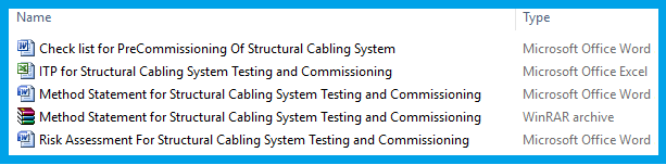 Method Statement for Structural Cabling System Testing and Commissioning