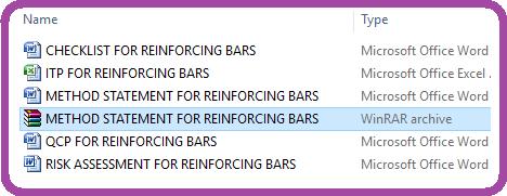 METHOD STATEMENT FOR REINFORCING BARS